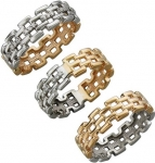 Кольцо из комбинированного золота с фианитовыми дорожками 01К168400