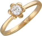 Кольцо из золота с бриллиантами в виде цветка 01К616720