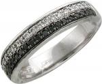 Кольцо из золота с бриллиантовыми дорожками 65К620311