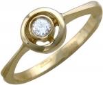 Кольцо из золота с фианитами круглой формы 01К135041