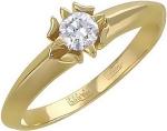 Кольцо из золота с фианитами в виде цветка 01К135125