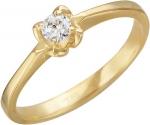 Кольцо из золота с фианитами в виде цветка 01К135755