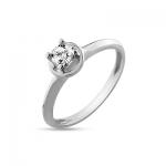 Кольцо помолвочное с 1 бриллиантами из белого золота
