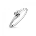 Кольцо помолвочное с 1 бриллиантом из белого золота