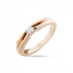 Кольцо помолвочное с 1 бриллиантом из красного золота