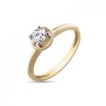 Кольцо помолвочное с 1 бриллиантом из желтого золота