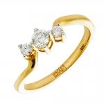 Кольцо помолвочное с 3 бриллиантами из красного золота
