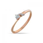 Кольцо помолвочное с бриллиантами  из красного золота