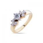 Кольцо помолвочное с  бриллиантами из желтого золота