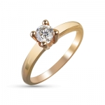 Кольцо помолвочное с бриллиантом из красного золота