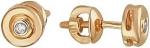 Круглые серьги пусеты из золота с бриллиантами 01С617570