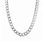 Толстая мужская цепь панцирного плетения из родированного серебра, с шириной звена 1см. M0000056019
