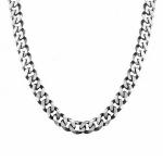Толстая серебряная цепь с родированно-черненным покрытие, плетение «Панцирь», ширина 1 см M0000062257