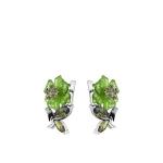 Серьги серебряные с зеленым кварцем и фианитами M0000062329