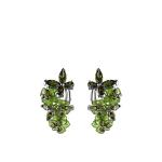Серебрянные серьги с кварцем, и бабочкой из фианитов зеленого цвета M0000062332