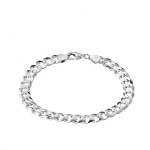 Серебряный браслет с родированием, плетение Панцирь, диаметр проволоки 2 мм M0000062571