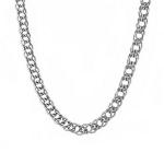 """Дутая мужская серебряная цепь, плетения """"Двойной ромб"""", ширина 7 мм M0000062574"""