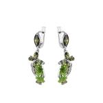 Серьги с зеленым кварцем и фианитами, серебро 925 пробы M0000064473