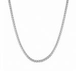 """Цепь серебряная родированная, плетение """"Ручной бисмарк"""", ширина 0,35 см M0000064761"""
