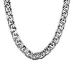 """Толстая серебряная цепь с оксидированием, плетение """"Ручной бисмарк"""", ширина 1,3 см M0000065169"""