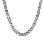 Мужская серебряная цепь с оксидированным, шириной 0,8 см, плетение бисмарк ручной вязки M0000065448