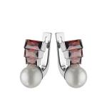 """Серебряные серьги """" Восхищение """" с кубическим цирконием и искусственным жемчугом M0000080930"""