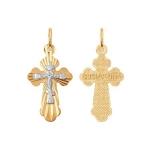 Подвеска из комбинированного золота с алмазной гранью 121209-9