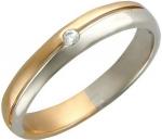 Обручальное кольцо из комбинированного золота с фианитами, ширина 3,5 мм 01О160056