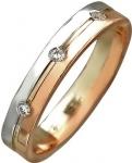 Обручальное кольцо из комбинированного золота с фианитами, ширина 3 мм 01О160280