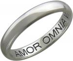 Обручальное кольцо из платины с гравировкой «Amor Omnia vincit», ширина 3,1 мм 01О090308-900
