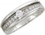 Обручальное кольцо из серебра с фианитами 01К155244