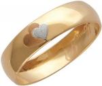 Обручальное кольцо из золота «Ты и Я» с сердечком, ширина 4 мм 01О010166