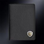 Кожаная обложка для паспорта РЫСЬ (эмблема серебро 925 пробы)