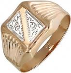 Печатка из золота с алмазной огранкой и узором 01Т718181Б