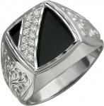 Перстень из серебра с алмазной огранкой с фианитами и ониксом 01Т455007