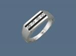Перстень из серебра с дорожкой фианитов и эмалью К5Т150366