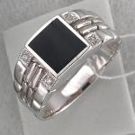 Перстень из серебра с фианитами и агатами С15Т450654