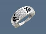 Перстень из серебра с фианитами и эмалью К5Т150351