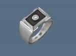 Перстень из серебра с фианитами и эмалью К5Т150373