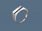 Перстень из серебра с фианитами и эмалью К5Т150375