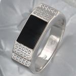 Перстень из серебра с фианитами и эмалью Р3Т1501390Э