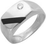 Перстень из серебра с фианитами и ониксом 01Т455201