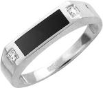 Перстень из серебра с фианитами и ониксом 01Т455219