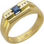 Перстень из золота с бриллиантовой дорожкой и сапфирами 01Т643845
