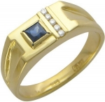 Перстень из золота с бриллиантовой дорожкой и сапфирами 01Т644660