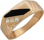 Перстень из золота с фианитами и ониксом 01Т411653