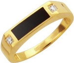 Перстень из золота с фианитами и ониксом 01Т435219