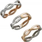Плетеное кольцо дорожка из комбинированного золота с фианитами 01К168422