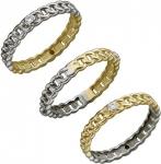 Плетеное кольцо из комбинированного золота с фианитами 01К168430Ж