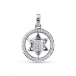 Подвеска Звезда Давида с бриллиантами белое золото